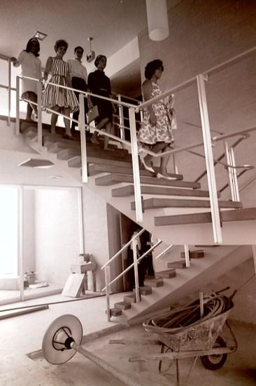 Students Walk Down Stairway in Scott Hall, August 15, 1964