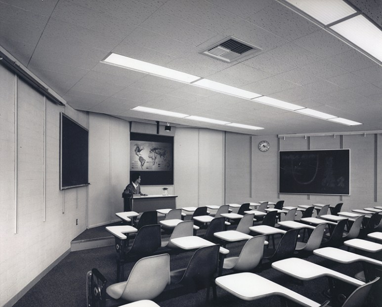 Interior View of Classroom/Lecture Hall in Bernard Hall, undated