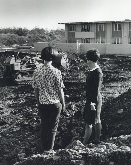 Students Observe Construction of Holden Hall, undated