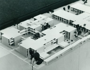 Bird's-eye View of Mead Hall Model, Looking Southeast, undated