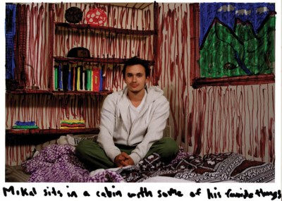 """Mikal Sits in a Cabin with Some of His Favorite Things (2012); Colored pen on digital photo print; 8.5"""" x 11"""""""