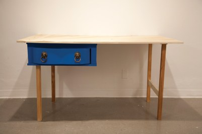 """A desk made of Ticky-Tacky (2013); Found wood, hardware; 35"""" x 57"""" x 31"""""""