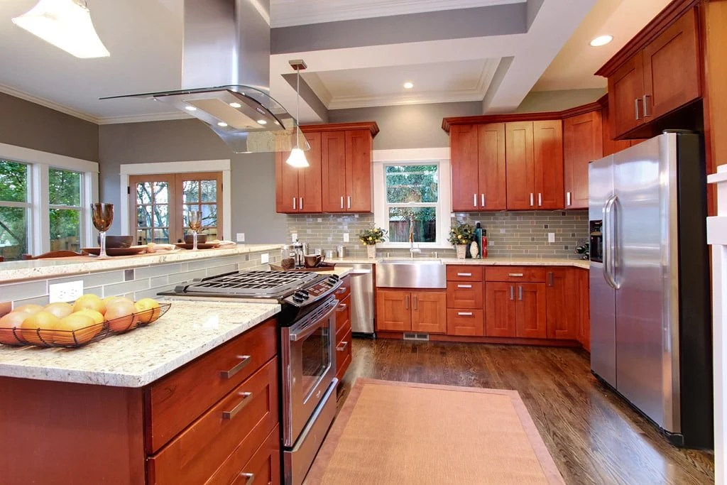 Natural American Cherry Shaker - Pius Kitchen & Bath on Natural Maple Cabinets With Quartz Countertops  id=71940