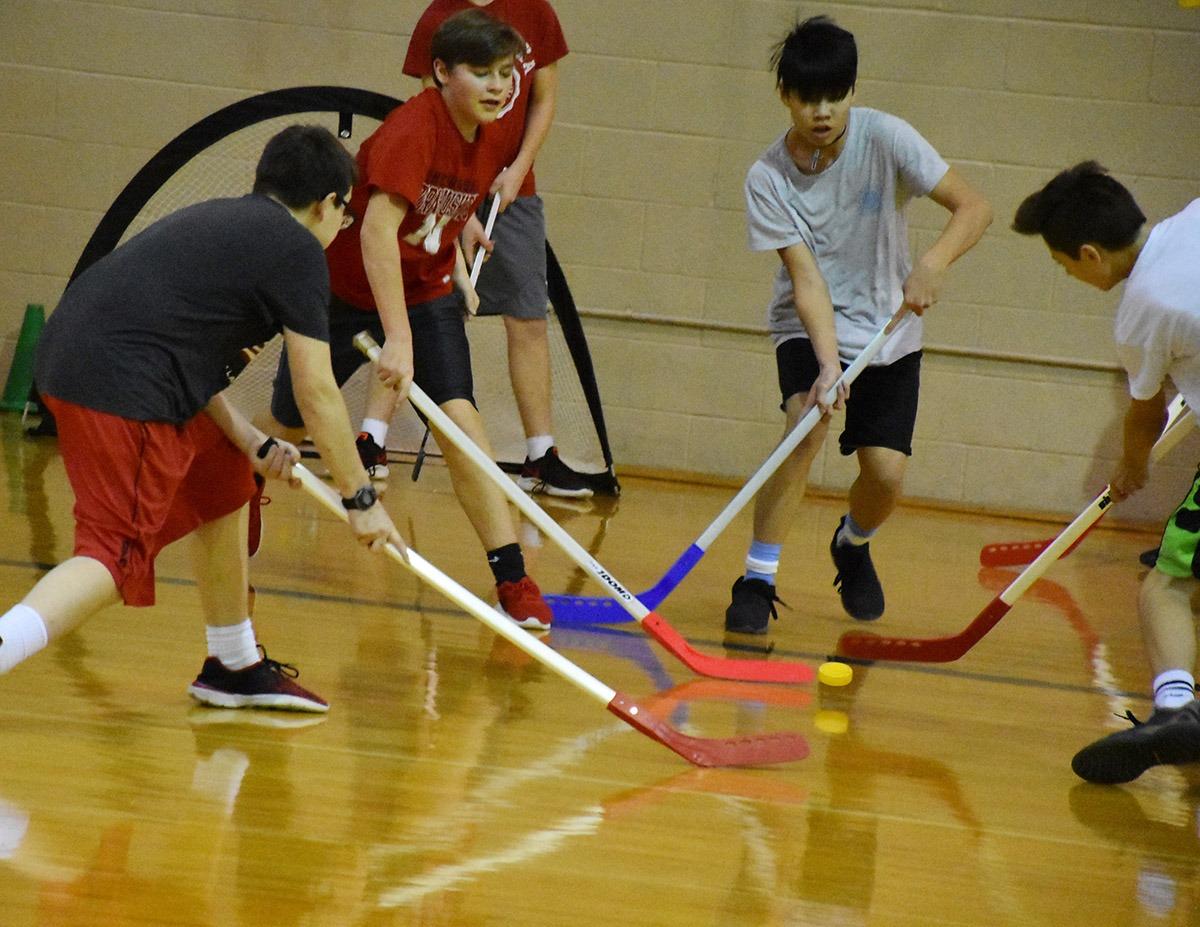 Floor Hockey In Pe Class