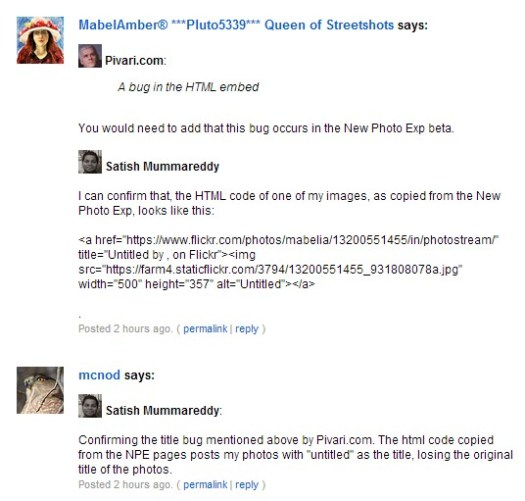 confirm of the my discover of bug in Flickr