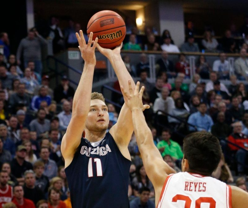 Gonzaga forward Domantas Sabonis shoots over Utah forward Chris Reyes during the first half of a second-round men's college basketball game Saturday, March 19, 2016, in the NCAA Tournament in Denver. (AP Photo/Brennan Linsley)