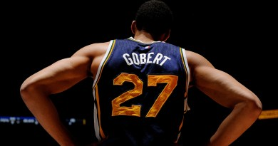 DENVER, CO - February 27: Rudy Gobert #27 of the Utah Jazz stands on the court during a game against the Denver Nuggets on February 27, 2015 at the Pepsi Center in Denver, Colorado. NOTE TO USER: User expressly acknowledges and agrees that, by downloading and/or using this Photograph, user is consenting to the terms and conditions of the Getty Images License Agreement. Mandatory Copyright Notice: Copyright 2015 NBAE (Photo by Bart Young/NBAE via Getty Images)