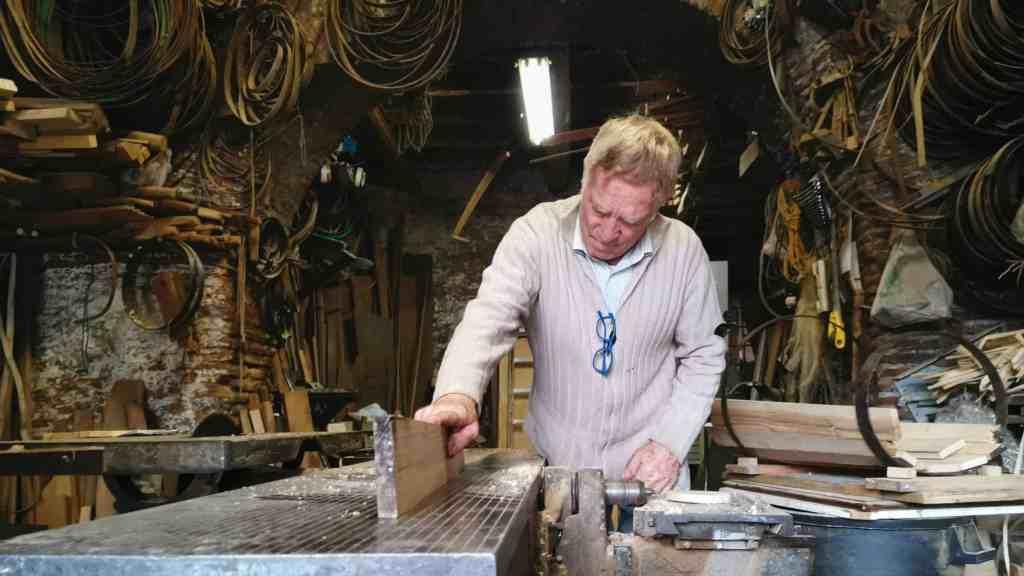 Alfredo Sannibale, a chestnut barrel maker, in his workshop.