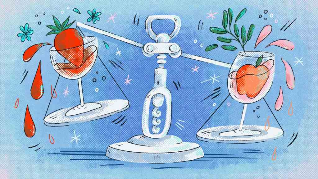 The illustration shows a pair of scales in the shape of a corkscrew weighing a glass on either side. Each glass has a fruit in it.