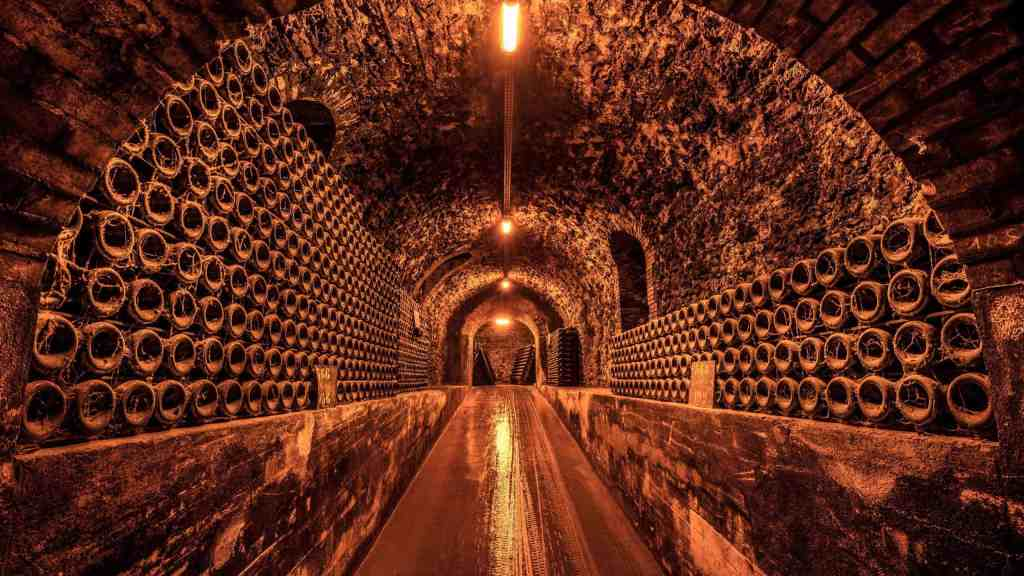 The underground cellars of Billecart-Salmon are piled high with bottles.