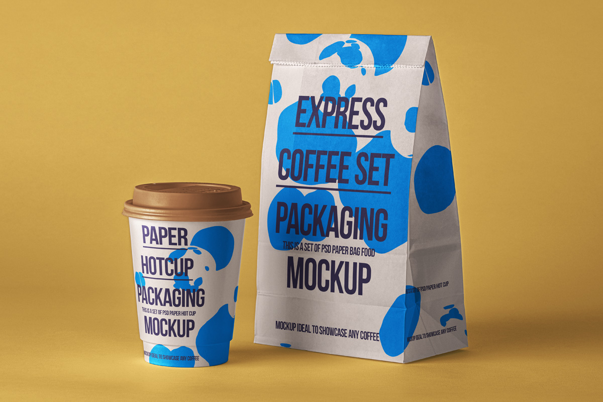 Front and halfside views included. Psd Coffee Packaging Mockup Set 2 Psd Mock Up Templates Pixeden