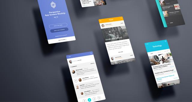 Perspective App Screens Mock Up 13 Psd Mock Up Templates Pixeden
