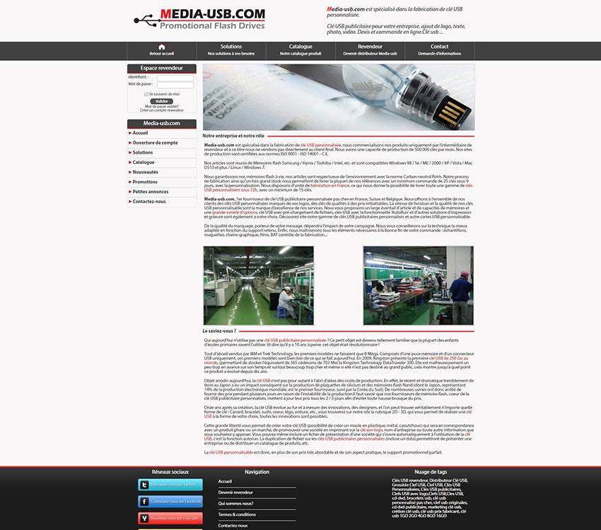 Media-usb site marchand développement sur-mesure