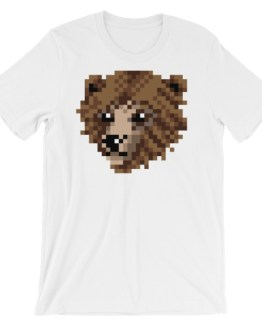 Burly Bear White Pixel Art TShirt