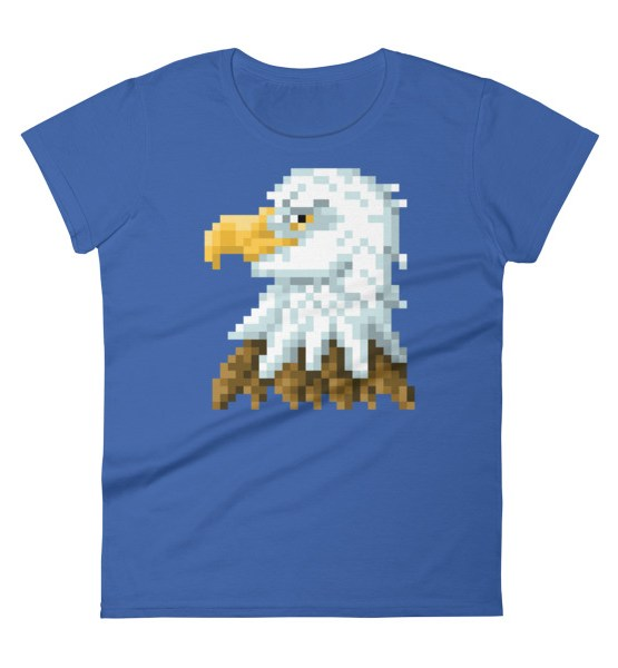 Bald Eagle womens tee in blue