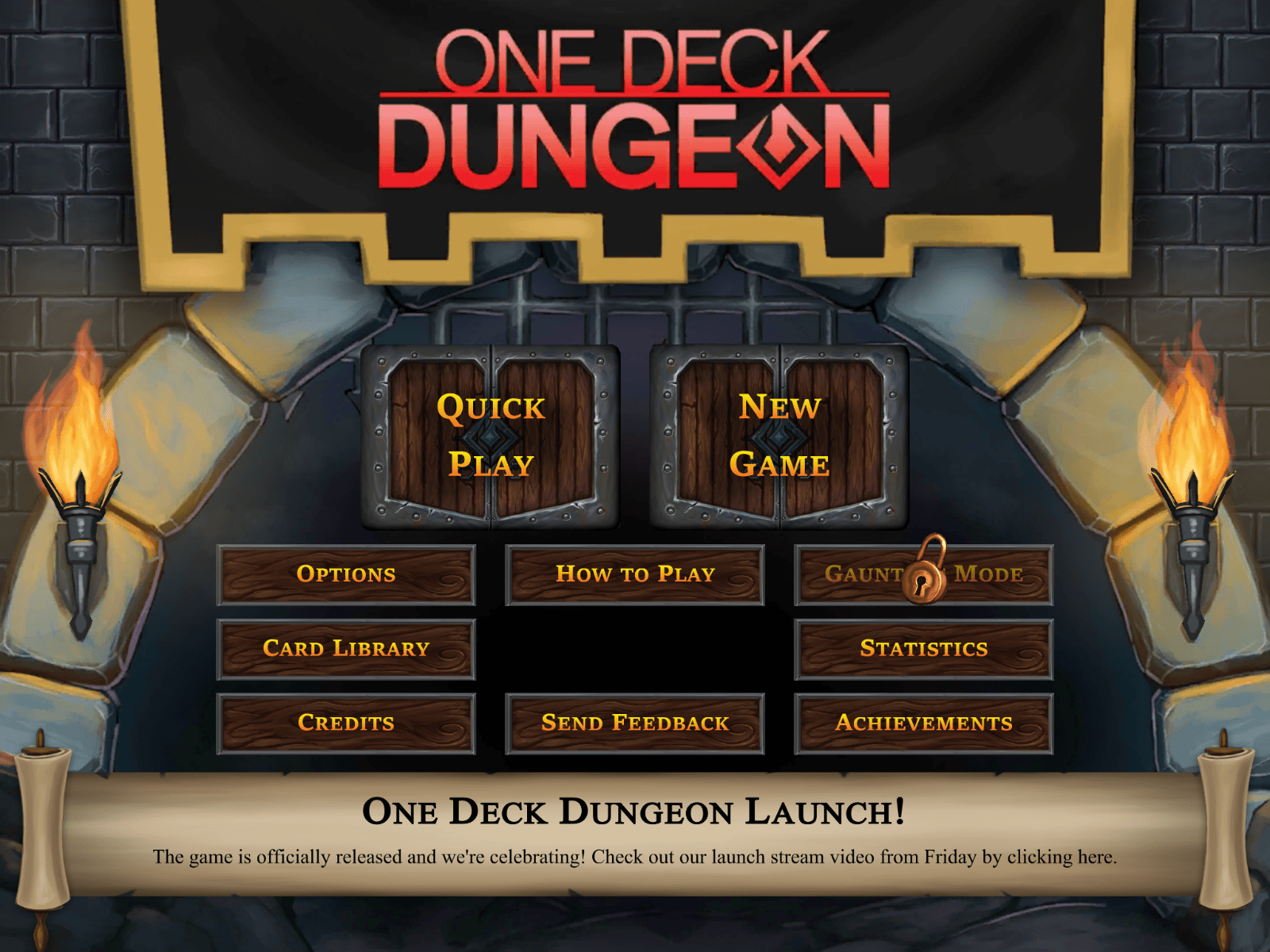 One Deck Dungeon - menu