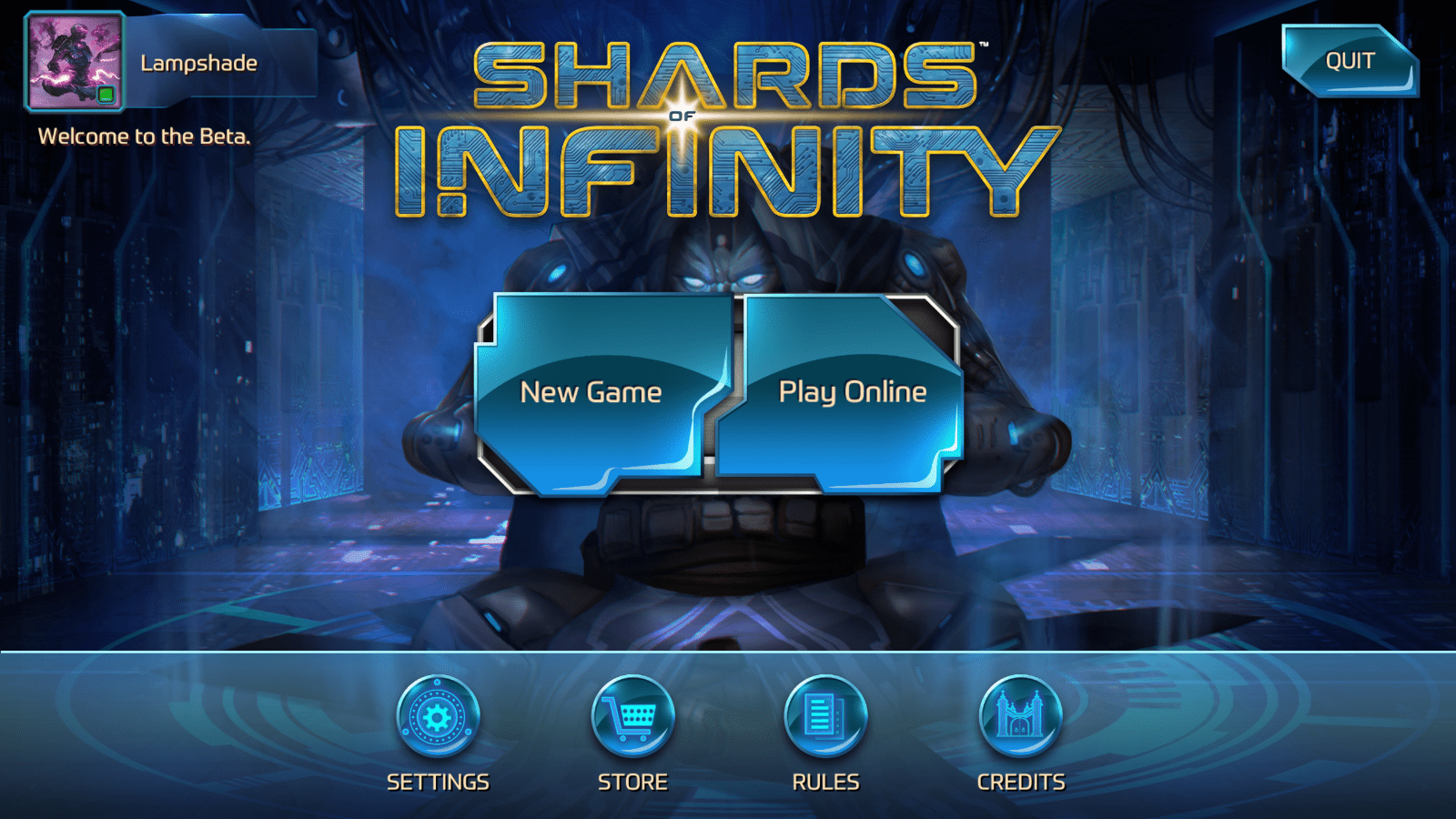 shards of infinity - menu