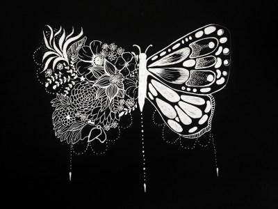 butterfly white pen artwork