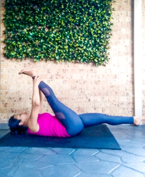stretch for splits Supta Padangusthasana A or Reclining Hand-to-Big-Toe Pose