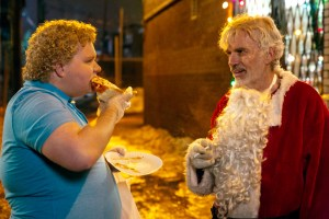 (l-r) Brett Kelly stars as Thurman Merman and Billy Bob Thornton as Willie Soke in BAD SANTA 2, a Broad Green Pictures release. Credit: Jan Thijs / Broad Green Pictures