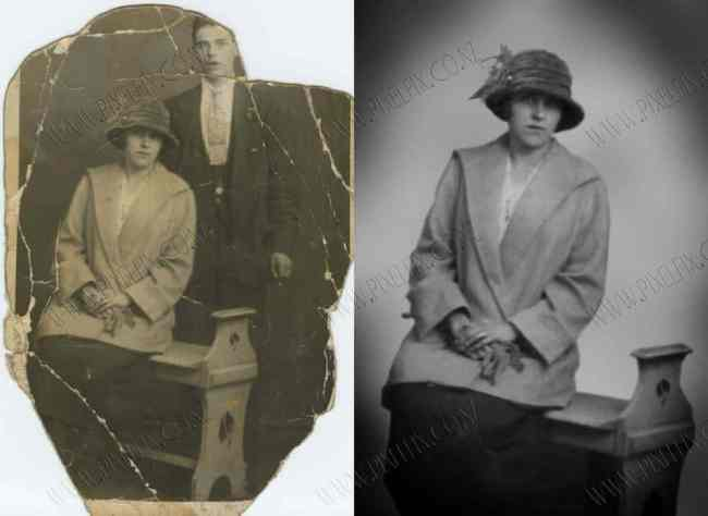 Photo restoration with new background