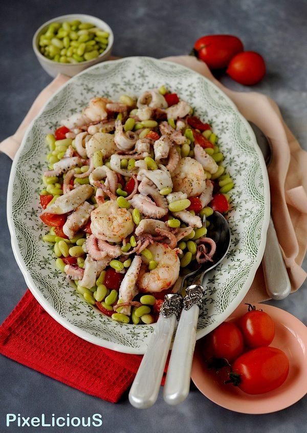 Insalata di Fagioli Verdi e Pomodori con Moscardini e Gamberi al Vapore