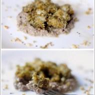 Bocconcini di Coda di Rospo con Panatura di Nocciole su Crema di Olive Taggiasche