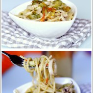 Spaghetti con Calamari, Fiori di Zucca e Zucchine