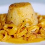 Tortini di Polenta con Calamaretti al Brandy e Zafferano