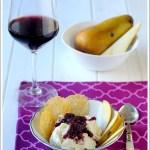 Gelato al Parmigiano Reggiano con Riduzione di Pere al Chianti e Cialdine Croccanti