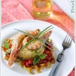 Risotto alle Zucchine con Gamberoni Scottati e Dadolata di Pomodorini