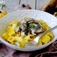 Mezzi Rigatoni con Crema di Zucca e Funghi Porcini