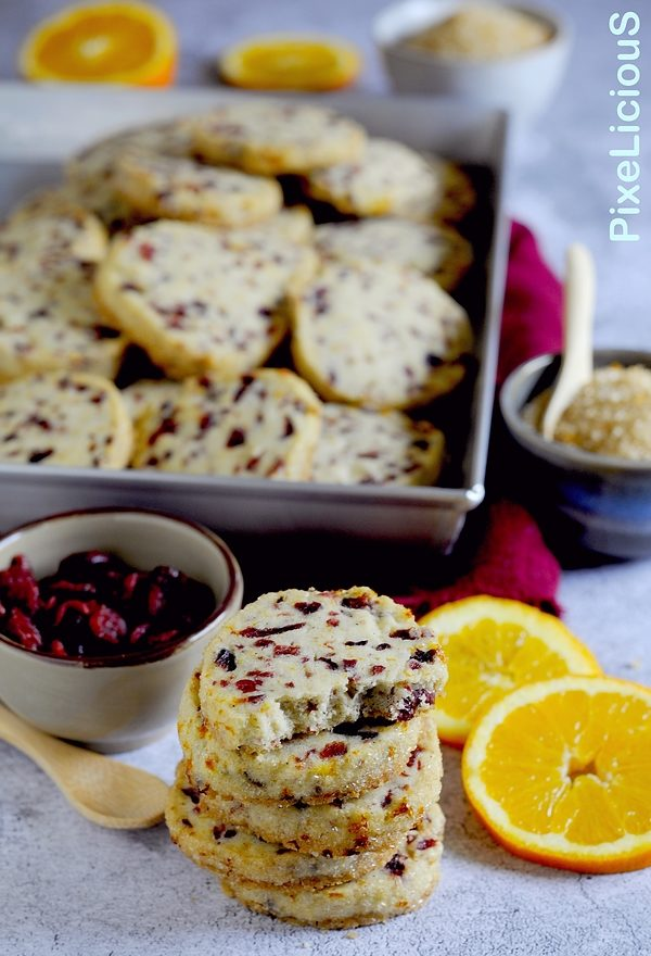 shortbread arancia e cranberries