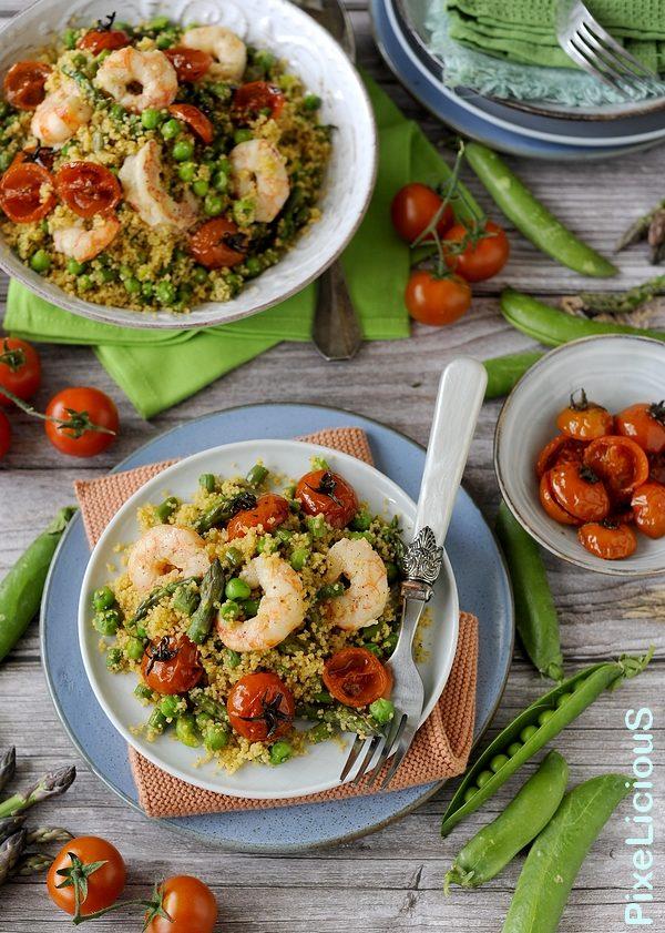 Cous Cous con Piselli, Asparagi, Mazzancolle e Pomodorini Confit