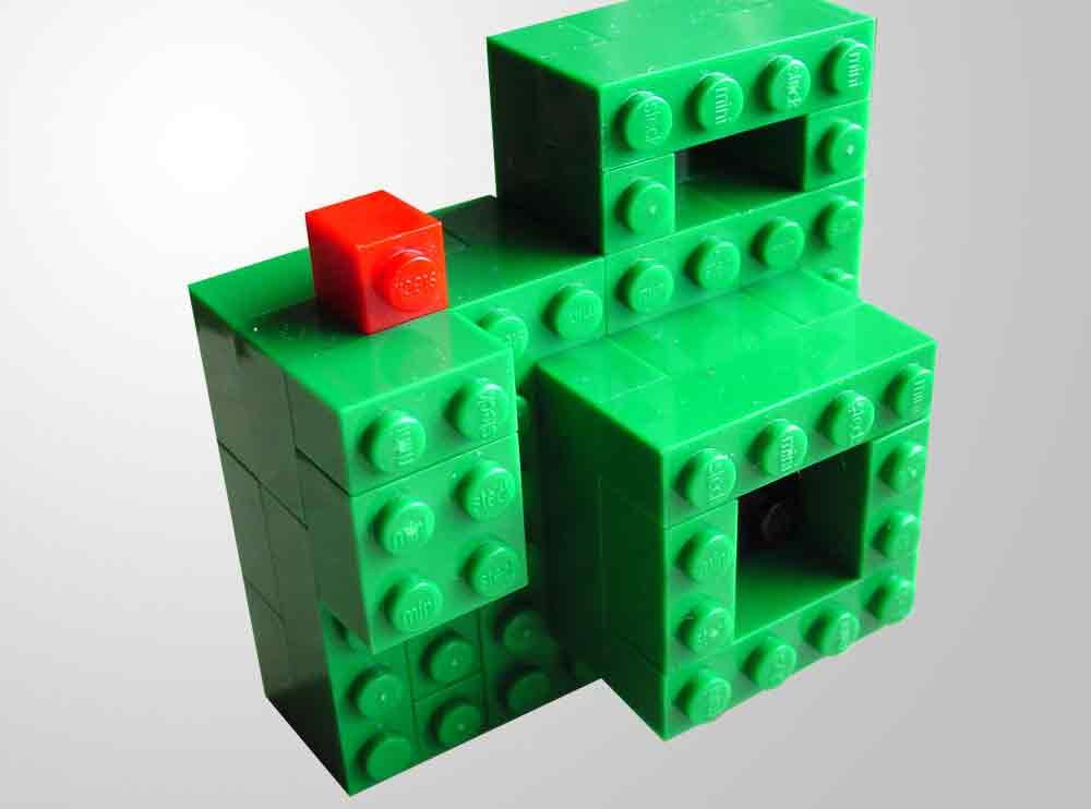 Lego-Fotoapparat mit Objektiv, Auslöser und Sucher