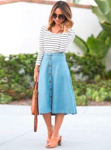 Looks inspiradores Saia jeans botões frontais