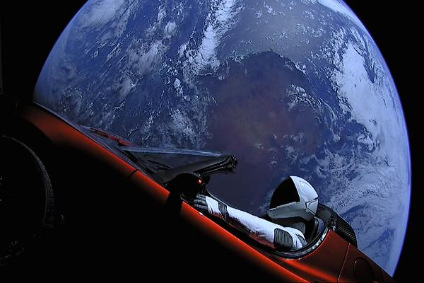 Elon Musk Tesla Roadster into space