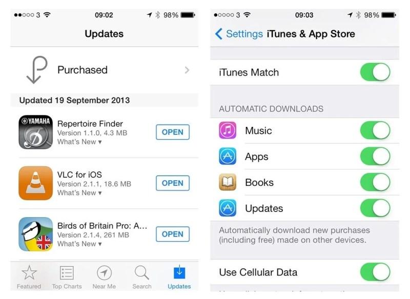 iOS 7 App Automatic Updates