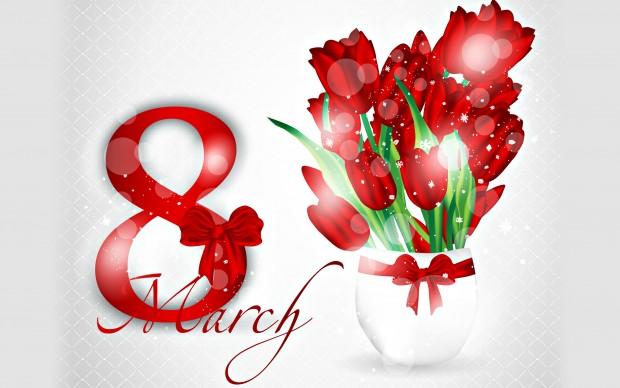 Women's Day Red Tulips Wallpaper.