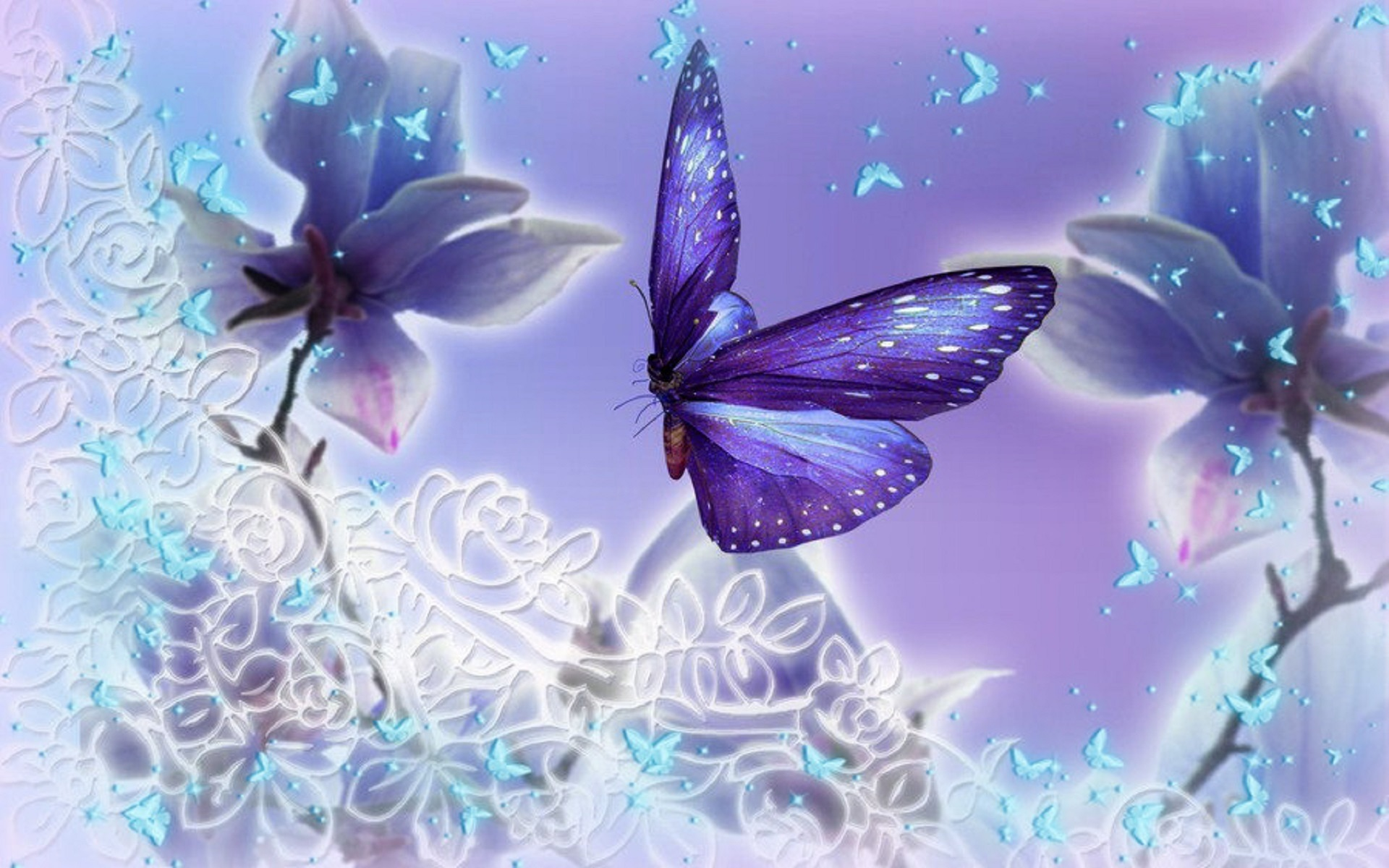 Butterfly Backgrounds free download   PixelsTalk Net       purple Butterflies Sparkling       Wide Desktop Background