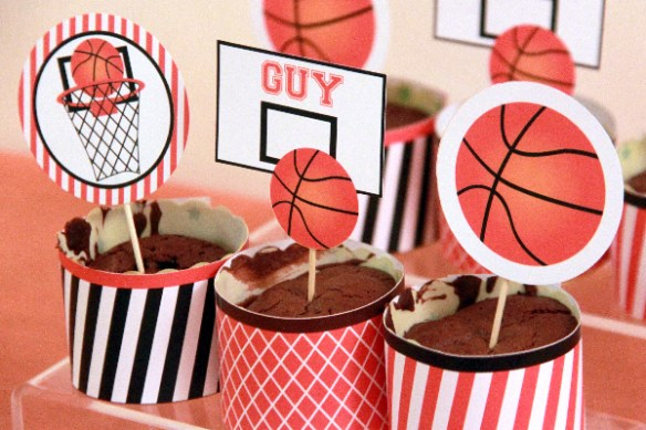 Basketball Party Cupcake Toppers by Pixiebear Party Printables
