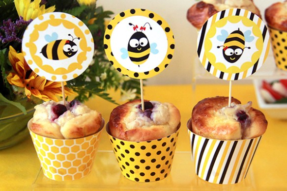 Bee Party Toppers by Pixiebear Party Printables