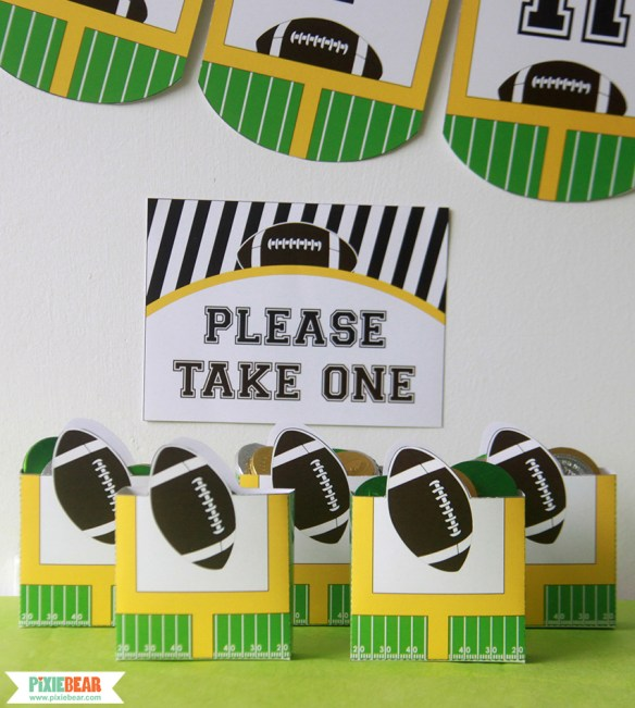 Football Party Printable Favor Boxes by Pixiebear Party Printables