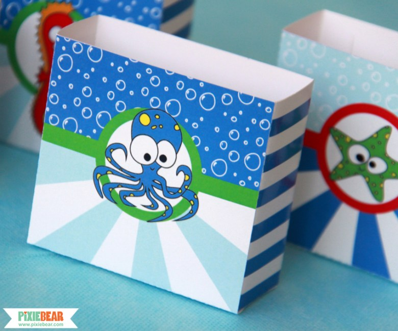 Under the Sea Party Favor Boxes by Pixiebear Party Printables