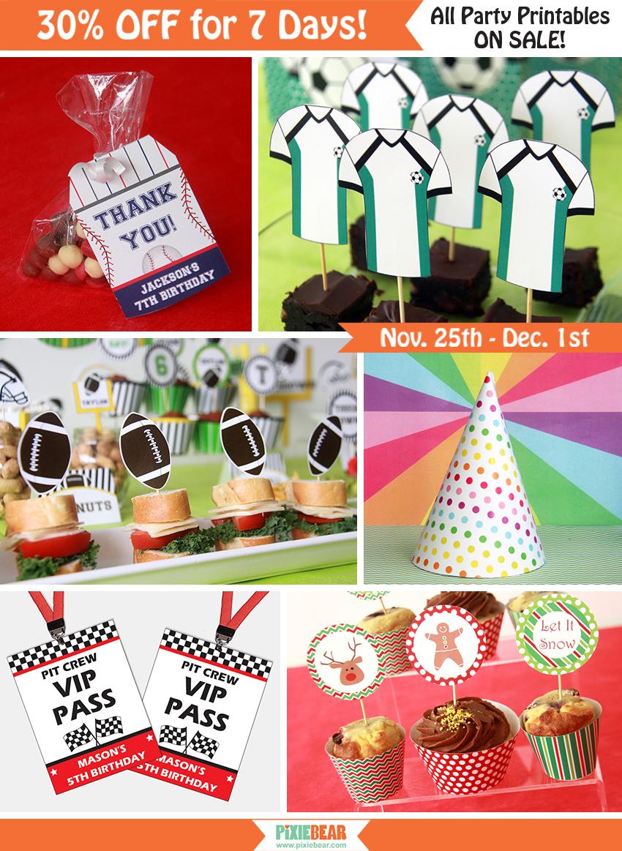 Pixiebear Party Printables Black Friday Cyber Monday Sale