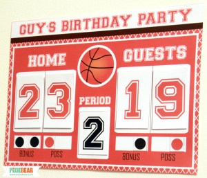 Basketball Party Scoreboard by Pixiebear Party Printables