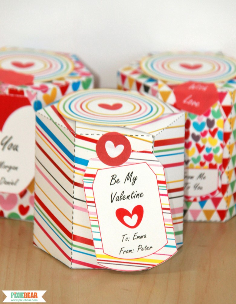 Valentine's Day Gift Boxes by Pixiebear Party Printables