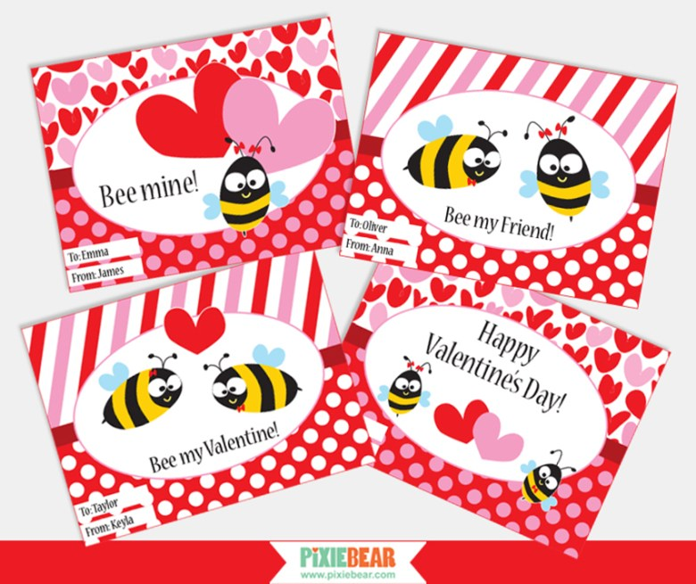 Valentine's Day Personalized Cards by Pixiebear Party Printables