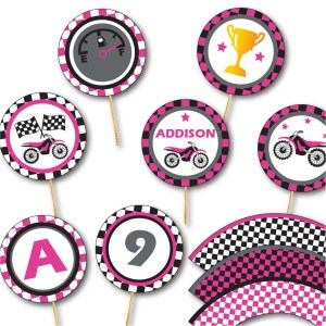 Pink Motocross Party Toppers Party by Pixiebear