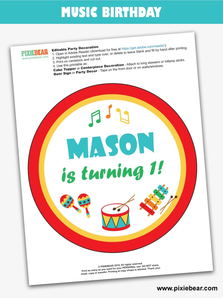 Music Party Free Printable by Pixiebear
